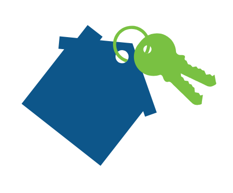 blue house icon with green keys