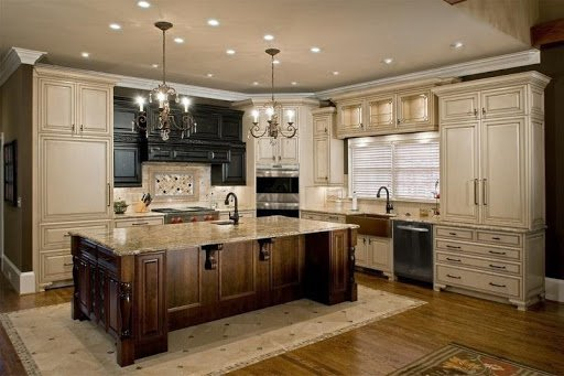 full kitchen showing lighting