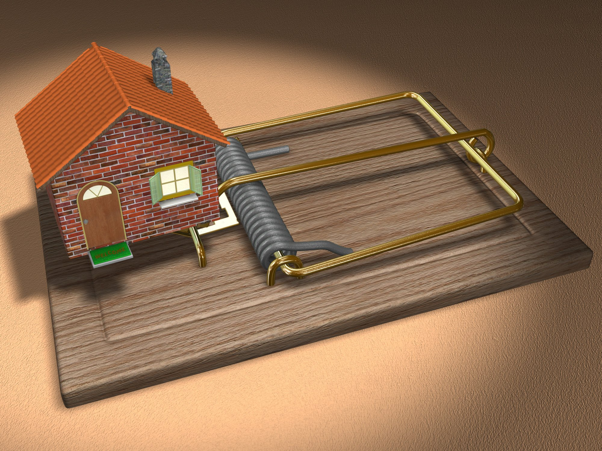 House in a mouse trap, symbolizing rental scams.