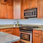 stove and marbled countertop