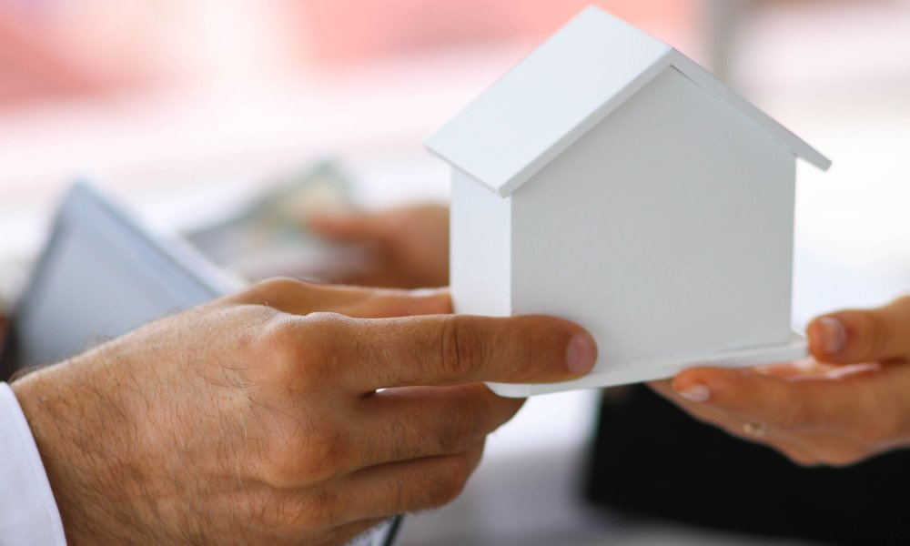 Person holding model houses