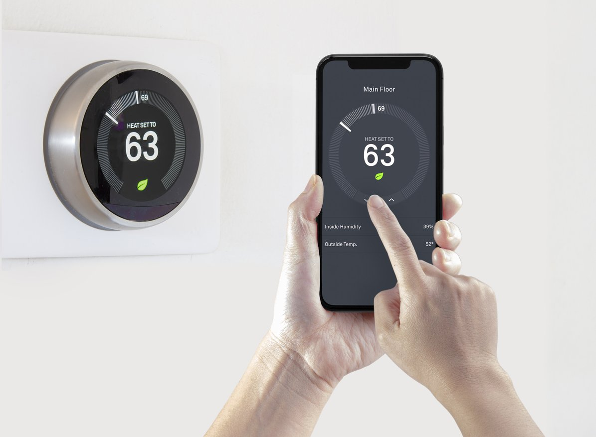 landlord thermostat being controlled by a smart phone