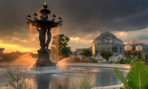view of bartholdi fountain, overlooking U.S. botanic garden for things to do with kids in washington d.c.