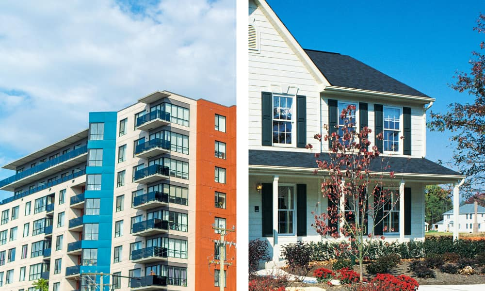 an image that is split to show condo vs house