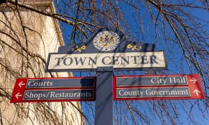 A sign in the town center directs people to some Rockville restaurants to try.