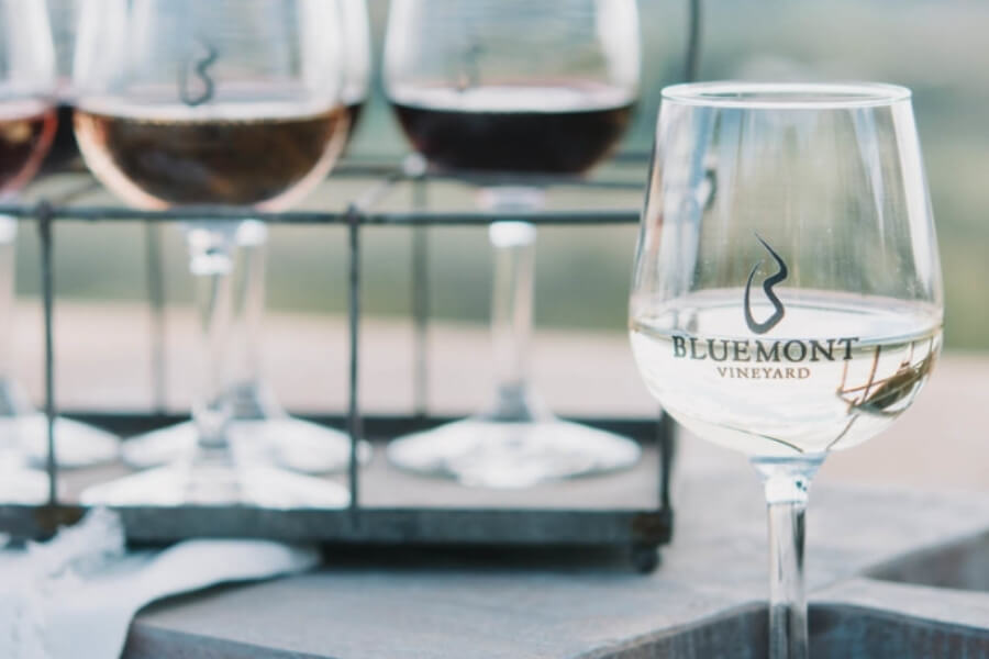 Close up of the wine glasses at Bluemont Vineyard