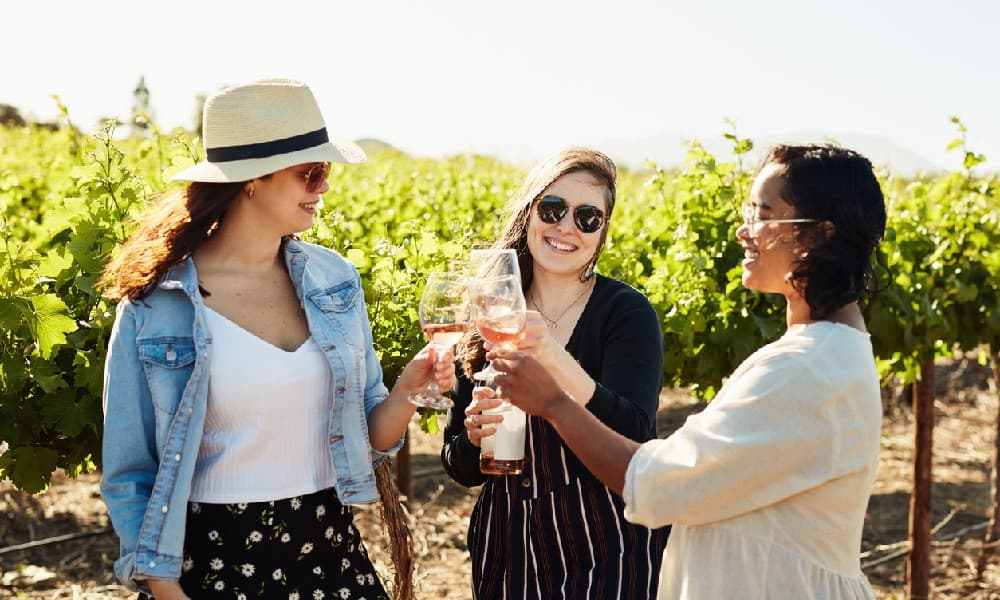 Three girls enjoying a wine tasting on a sunny day at one of the best wineries in Northern Virginia.