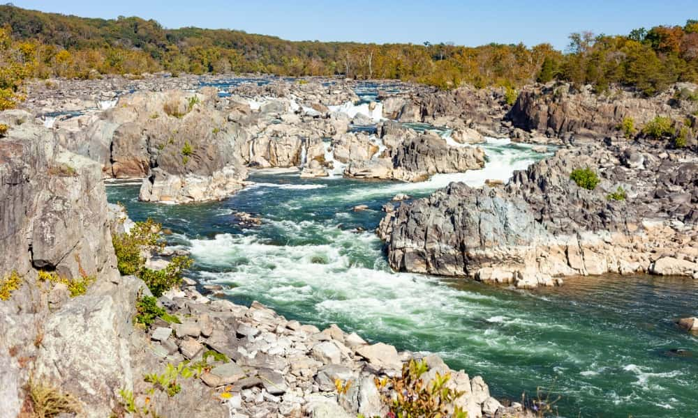 the rocks and river in Great Falls National Park, one of the best things to do in Northern Virginia